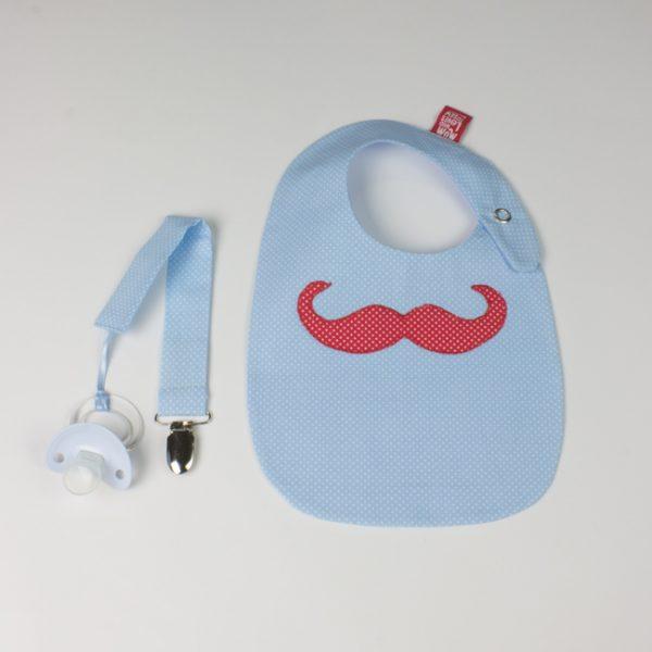 """Babete e porta-chucha """"bigode Mr Moustache"""""""