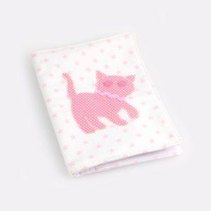 """Porta documentos em tecido para o bebé """"Gato"""""""