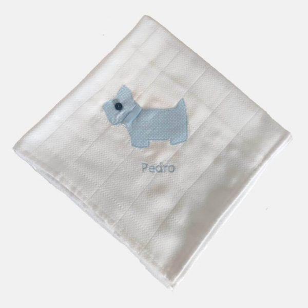 Fraldinha scottie-dog (pintinhas azul)