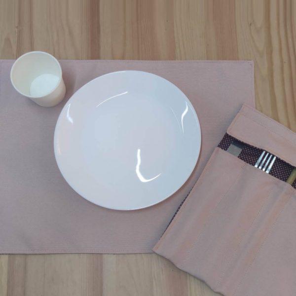 Conjunto porta talheres e individual de mesa ecológico