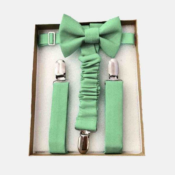 Laço e suspensórios de cerimónia (verde chá)