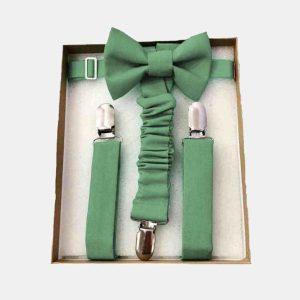 Laço e suspensórios de cerimónia (verde sage)