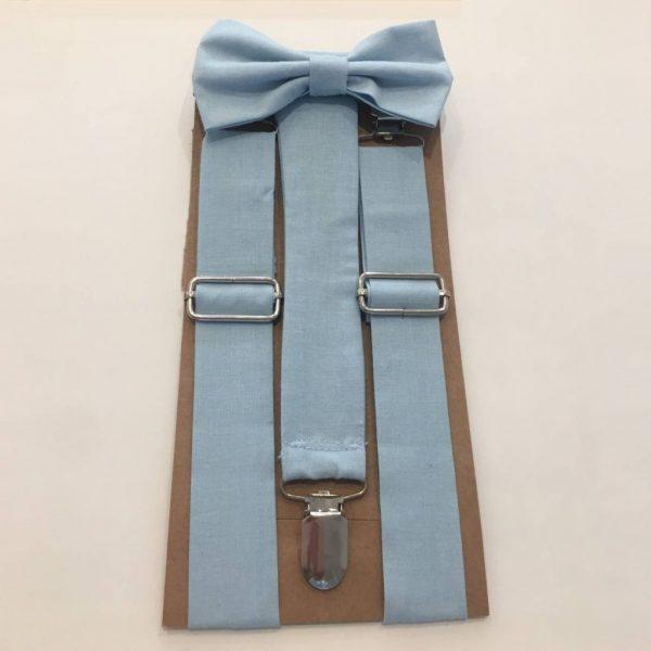 Conjunto laço e suspensórios (azul céu)