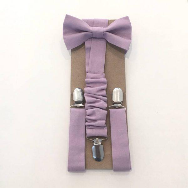Laços de pescoço e suspensórios (Lilás / Malva)