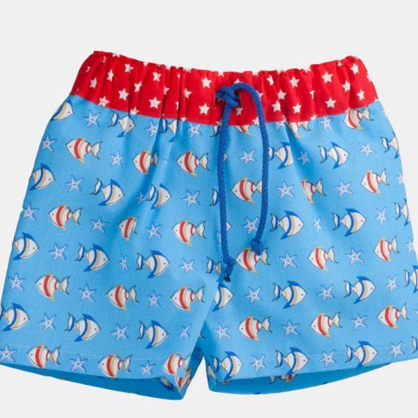 """Calção de praia """"Peixinhos"""" . Shorts (praia, piscina, campo)"""
