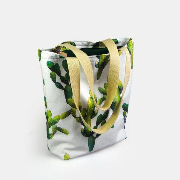 """Totebag em tecido para senhora """"Cactus"""""""